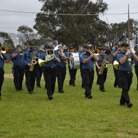 The Naden Band marches to Heart of Oak while practicing at the Chilean Naval Academy.