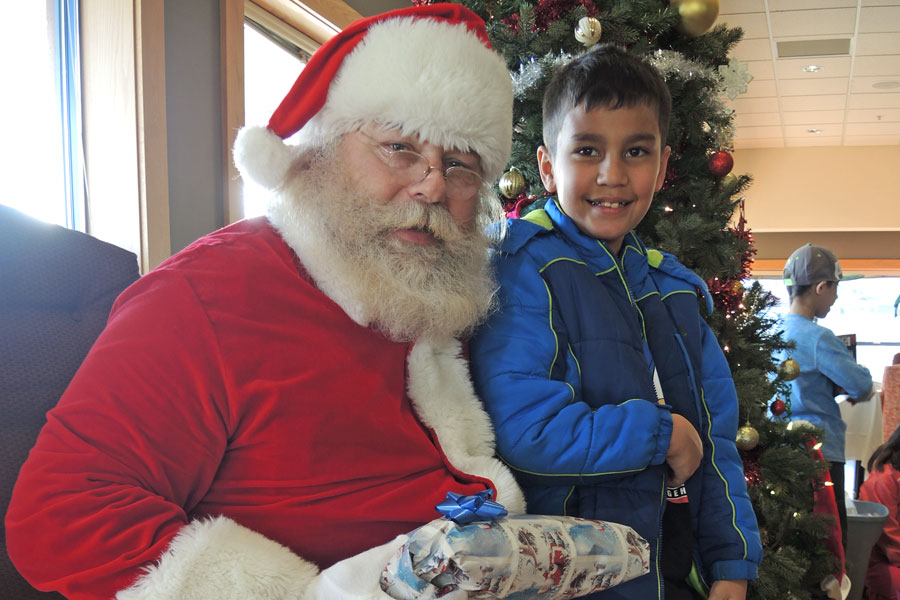 Santa drops in at children's party