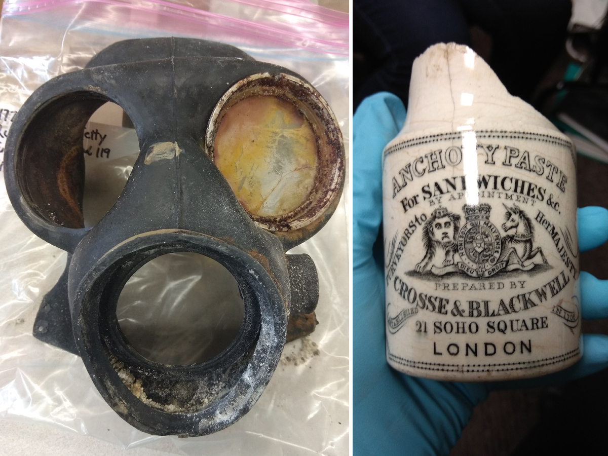 Left: A recovered Canadian issue Mark IV 1942 gas mask. Right: British ceramic anchovy paste jar dating to between 1830 and 1860, recovered near B Jetty.