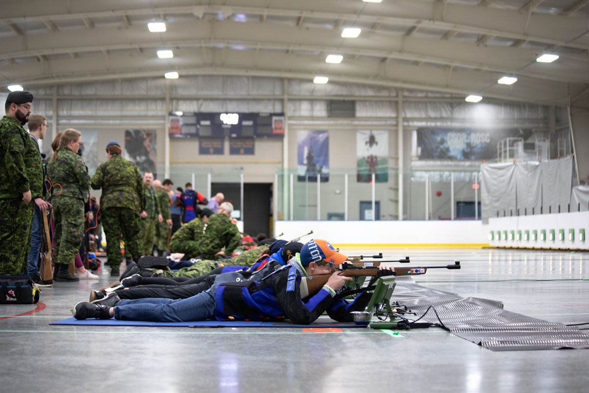 More than 120 sea, army and air cadets from across Canada took part in opening ceremonies of the 45th National Cadet Marksmanship Championship at Wurtele Arena. Photo by Captain Shirley Ho
