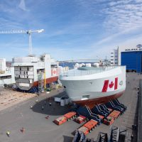 The bow mega block section of the future HMCS Margaret Brooke is moved outside at Irving's Halifax shipyard. Photo courtesy Irving Shipbuilding