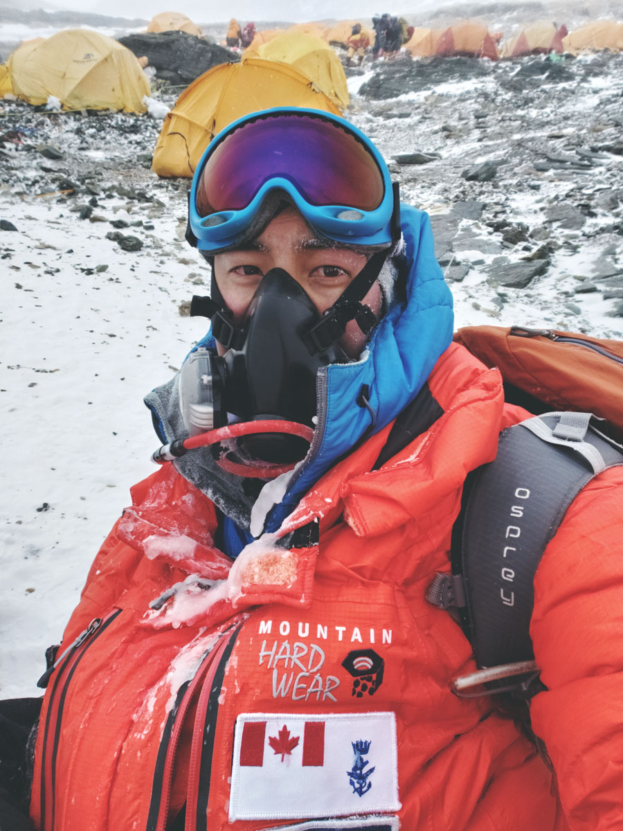 Captain Chris Dare, who works as a dentist at the Dockyard Dental Clinic, was part of the UK-based 360 Expeditions climbing team that scaled the world's tallest mountain last week from its Tibetan side.