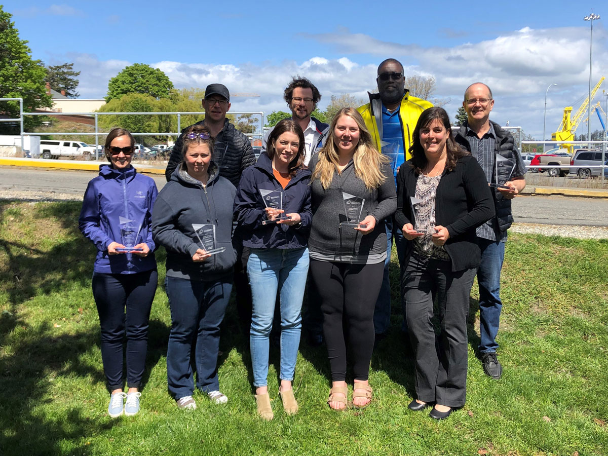Members of Esquimalt's Environmental Services team with their individual awards. Photo courtesy DCC