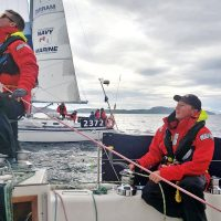 A/SLt Hayden Pooley and Lt(N) Tom Eagle of STV Goldcrest neck and neck with STV Tuna in a downwind Spinnaker race to Port Hardy during the Van Isle 360 Yacht Race. Photo by LCdr Chris Maier