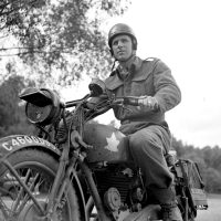 Dispatch rider Frank Shaughnessy of the 2nd Anti-Tank Regiment, Royal Canadian Artillery.  Photo: Library and Archives Canada, MIKAN 3202240