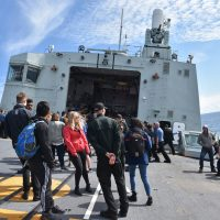 Family and friends enjoy manoeuvres on board HMCS Winnipeg during the family day sail.