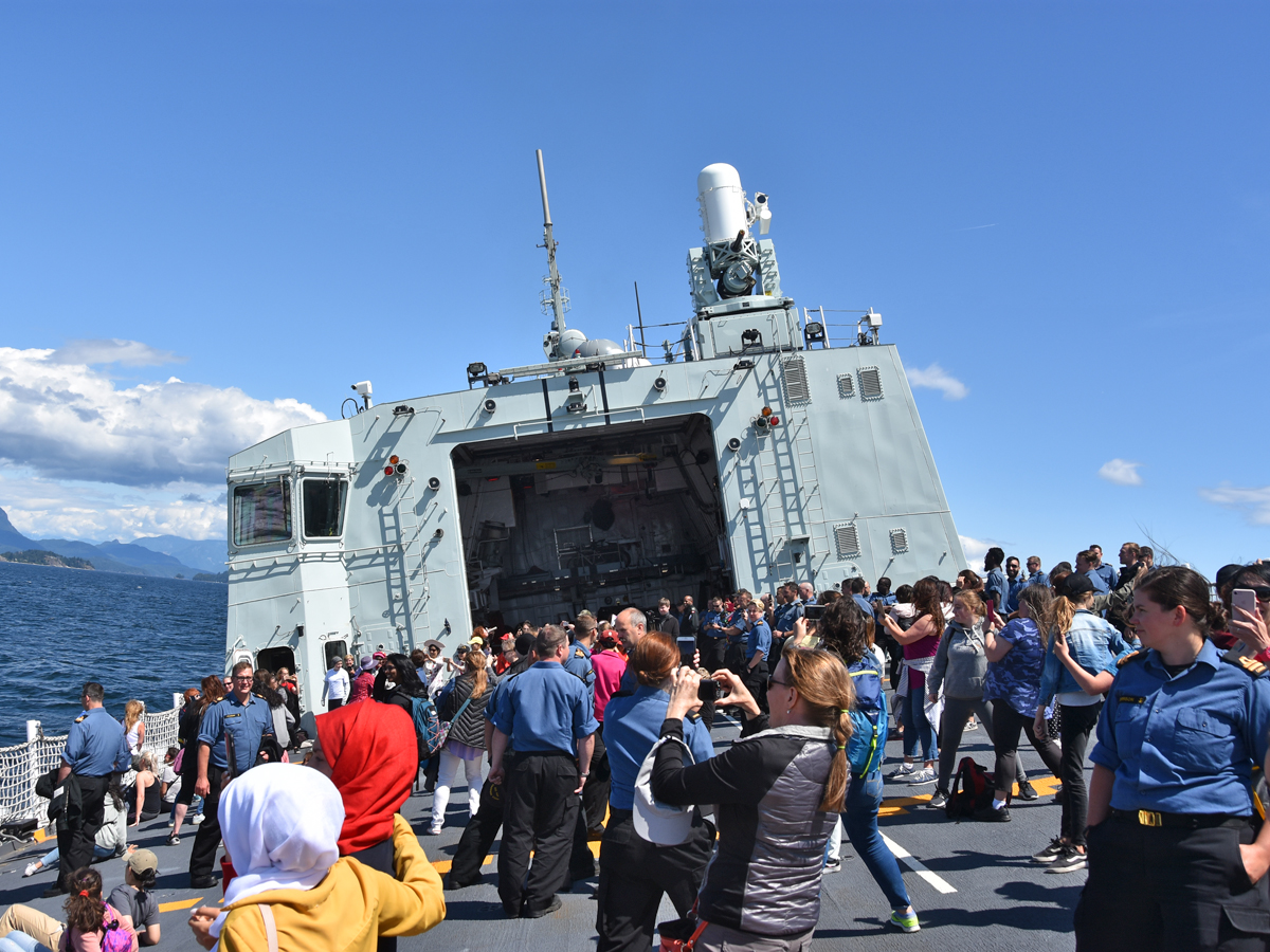 This Is You participants step aboard HMCS Winnipeg