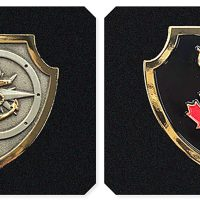 Badge 1 (left): The Naval Boarding Party Basic Qualification badge is a silver shield bordered by gold trim three centimetres in height. A stylized naval compass is centred on the shield in the background with a gold fouled anchor centred on top of the compass. Badge 2 (right): The NTOQ badge is a black shield encased in gold trim three centimetres in height. A gold trident is centred in the background with a red maple leaf centred on the staff of the trident. Photos by DND