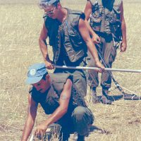 United Nations troops search for mines in Cyprus.