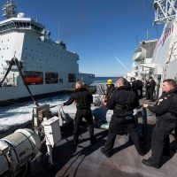 Sailors practice refueling at sea during the opening days of the exercise. Photo: MARLANT PA