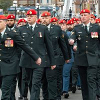 Thirty military police took part in the parade for the Sept. 29 event that honoured fallen officers. Photo by LS Mike Goluboff, MARPAC Imaging Services