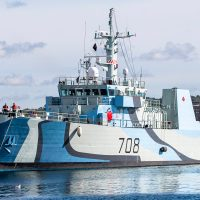 HMCS Moncton returns to its homeport of Halifax after a refit that includes a Second World War Admiralty commemorative paint scheme to honour the 75th Anniversary of the end of the Battle of the Atlantic.Thepattern is a form of ship camouflage from the Second World War era.Photo by Mona Ghiz, MARLANT PA