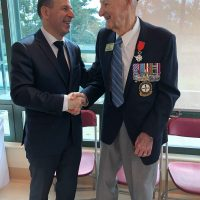 Victoria's Edward Vaughan receives his French Legion of Honour Medal from France's Consul General for western Canada Phillipe Sutter at Veterans Memorial Lodge at Broadmead on Sept. 29. Photo courtesy Shannon Donnelly, Broadmead Care