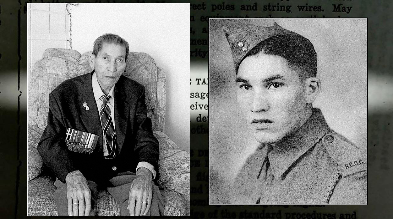 Left: Cpl (Ret'd) Tomkins at age 85 in 2003. He was one of the few known Cree Code Talkers who used the Cree language to create a secret code that may very well have turned the tide of the Second World War in favour of the Allies. Photo courtesy of Adele Laderoute. Right: Corporal (Retired) Charles (Checker) Tomkins during the Second World War, circa 1940. He was part of a group of Indigenous Canadian soldiers who created a secret code using their own language that the enemy had no way to break.  Photo courtesy Alex Lazarowich