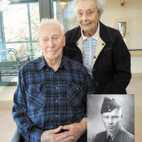 Second World War veteran William 'Glen' Ryder poses for a photo with his wife Velma Ryder at Veterans Memorial Lodge at Broadmead on Oct. 28, 2019. During the war, Ryder was part of a six-man crash boat crew that patrolled the west coast of Vancouver Island for the Royal Canadian Air Force (RCAF) Marine Division. Photo by Peter Mallett. Inset: William 'Glen' Ryder