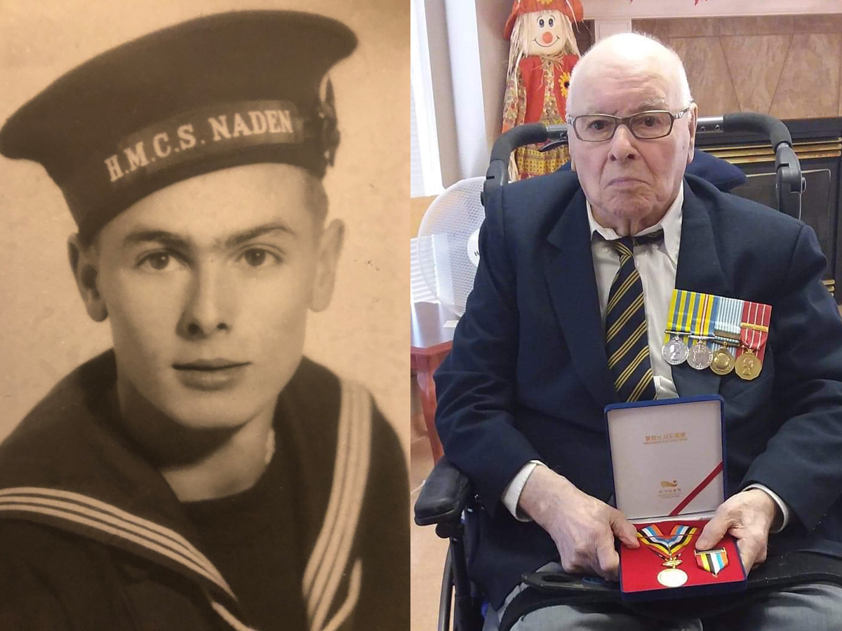 Chief Petty Officer First Class (Retired) Melvin Hiles, 90, is presented with his Ambassador For Peace medal by Korean Consulate Official Kangjun Lee during a private ceremony at the Kiwanis Village seniors home in Nanaimo on Oct. 8. Credit Garth Hiles. Left: An undated file photo of Melvin Hiles from his first days at CFB Esquimalt.