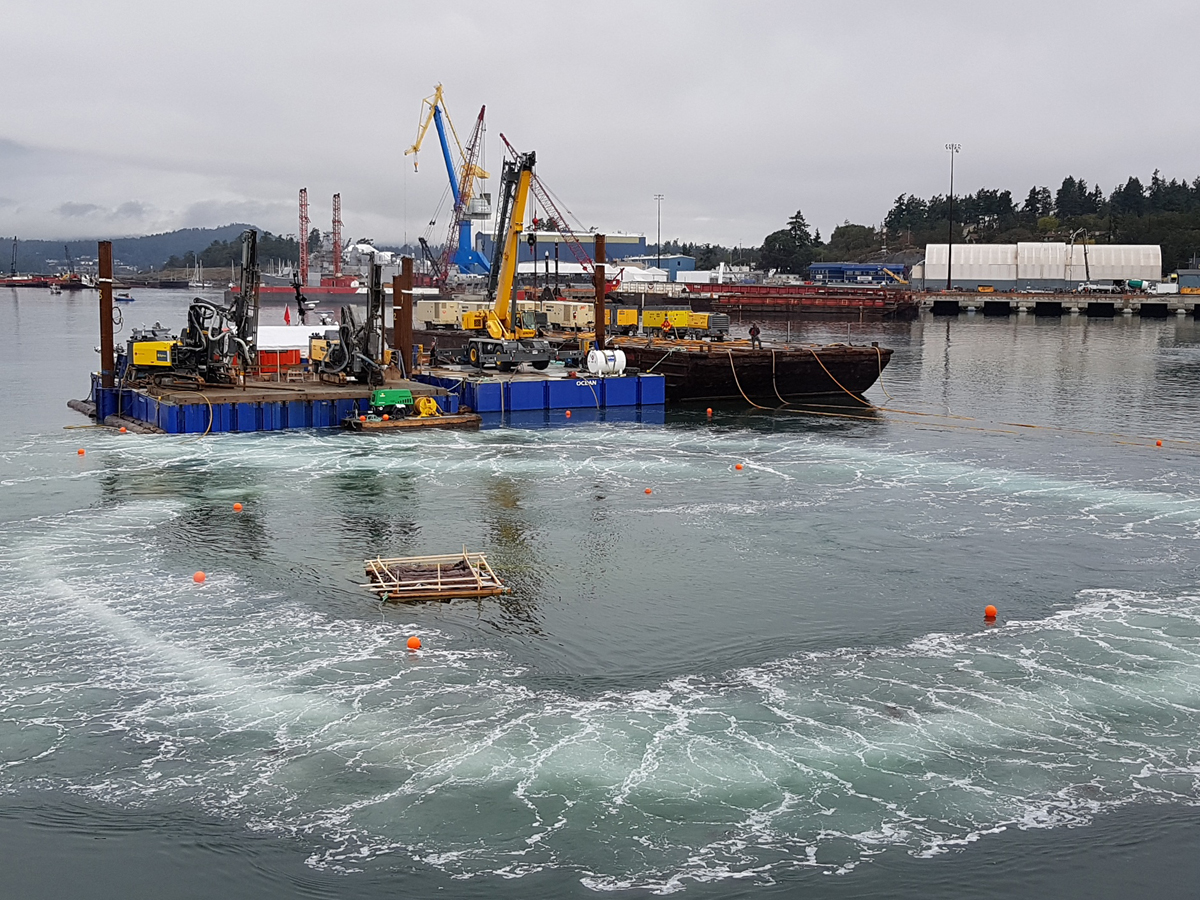 A bubble curtain is activated in Esquimalt Harbour just prior to a marine blast on Sept. 13. The work is being done to make way for a new small boats jetty in Dockyard.