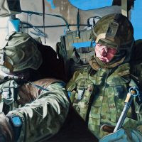 Former Canadian Forces Artist Program volunteer Scott Waters depicts two members of 2RCR (Royal Canadian Regiment) sleeping in their light armoured vehicle during training at CFB Gagetown in 2006.