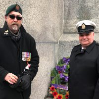 Michael McGlennon, Vice President of Persian Gulf Veterans of Canada (left), and CPO1 Gerald Doutre attend the Remembrance Day ceremony at the National War Memorial in Ottawa to lay a wreath on behalf of the Persian Gulf Veterans of Canada. Photo credit PGVC.