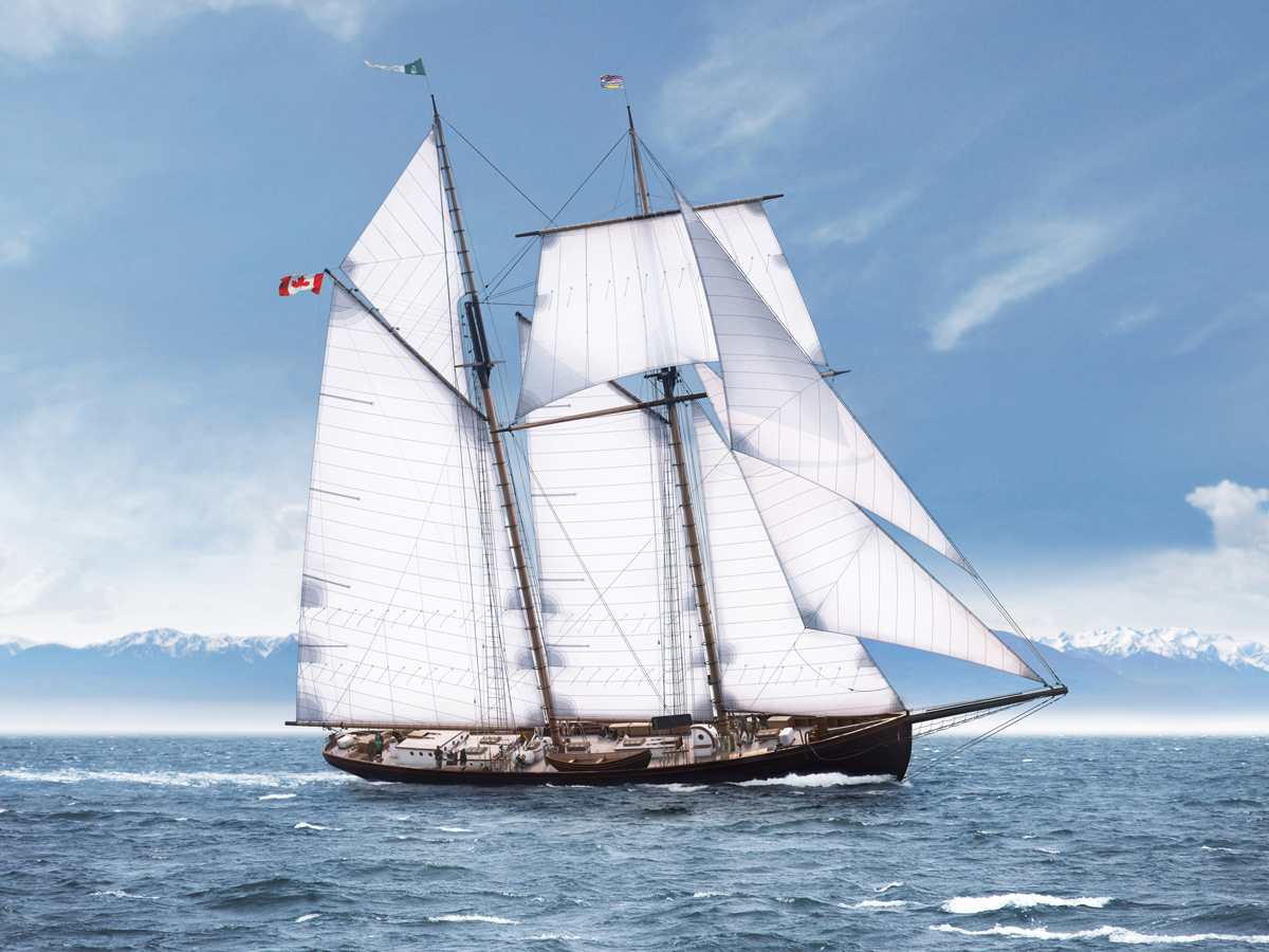 A computer rendering by Will Krzymowski of the proposed schooner Leonora. Ship design led by Stephen Duff. The Sail and Life Training Society (SALTS) have announced plans for construction of a third tall ship for its fleet of vessels that teach youth from across Canada sailing skills.