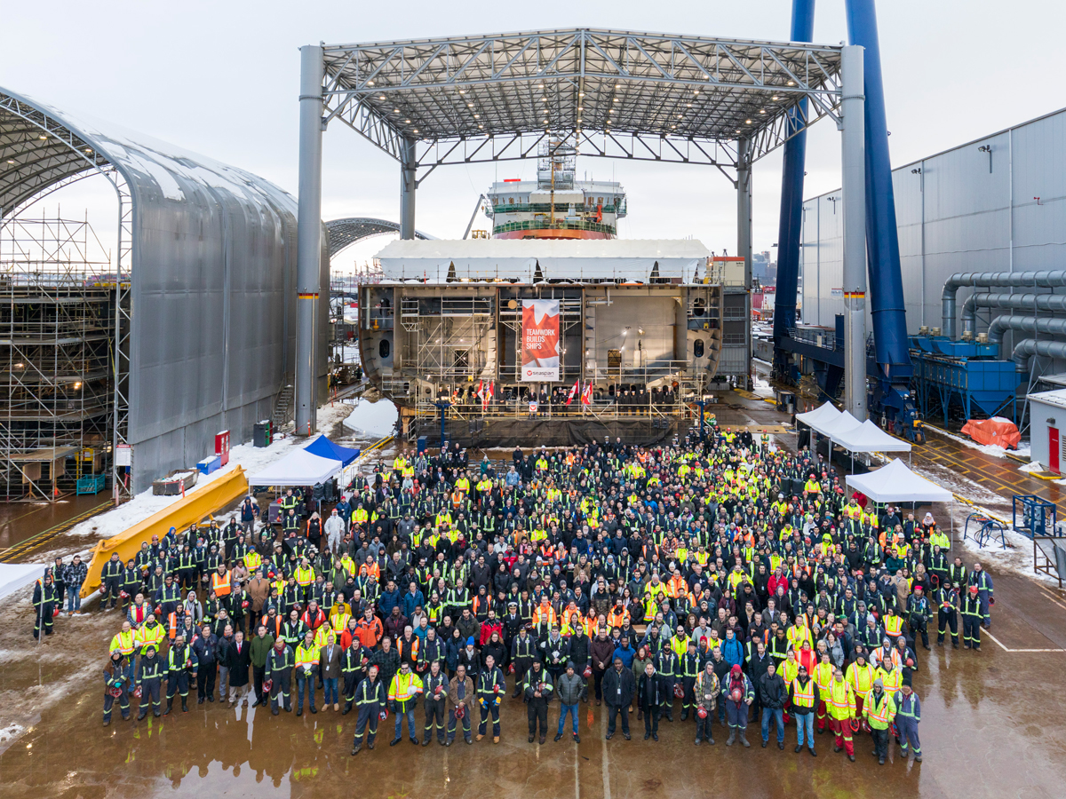 On January 16, 2020, representatives from the Government of Canada and the Royal Canadian Navy, many of Seaspan Shipyards more than 2,800 employees and other guests gathered for a ceremonial keel laying event. Photo credit: Seaspan Shipyards