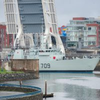 HMCS Saskatoon transiting from Point Hope Shipyard to Y jetty. Photo by LS Brendan Gibson, MARPAC Imaging Services