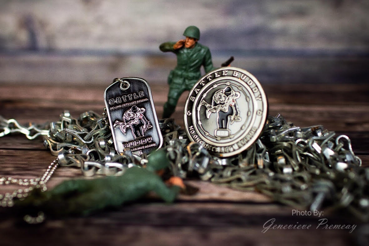 Battle Buddy coin along with Dog Tags created by Leading Seaman (Retired) Debbi Ferguson, owner of Delta Fox Trot Designs.