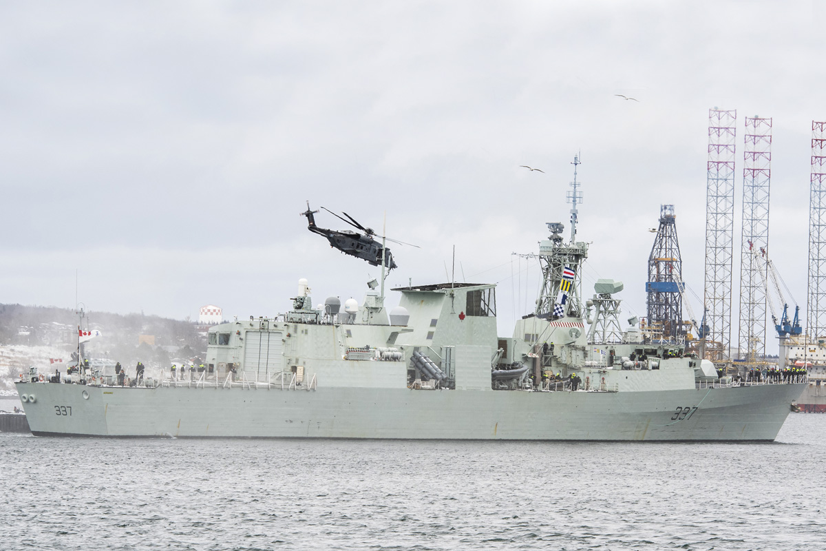 HMCS Fredericton set sail with 251 sailors, airmen and women, for a 6-month deployment overseas on Operation Reassurance, on 20 January 2020. Since 2014, this is the 13th #RCNavy ship, to deploy on Operation Reassurance and marks the third time for Fredericton. HMCS Fredericton will deploy with a 12-Wing Shearwater CH-148 Cyclone helicopter, call-sign Stalker. This marks the Royal Canadian Air Force's 5th operational deployment with the Royal Canadian Navy and the 4th Cyclone to conduct flying operations during Op REASSURANCE. Photo by Mona Ghiz, MARLANT PA HS88-2020-0033-001 © 2020 DND-MDN Canada