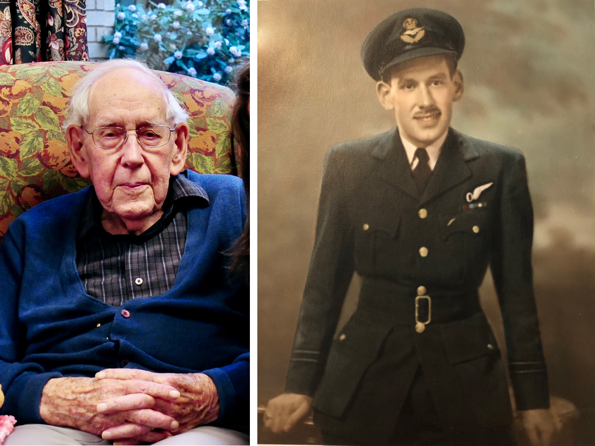 Malcolm Colquhoun. Right: Flight Lieutenant Malcolm Colquhoun during the Second World War.