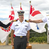 Commander Jason Barbagallo (middle), Base Administration Executive Officer, with his wife Chantal, is promoted to his current rank by Capt (Navy) Sam Sader, Base Commander, on June 16, 2020. Photos by LS Kendric C.W. Grasby, MARPAC Imaging Services