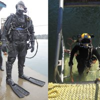 The Ultra Lightweight Surface Supply Diving System includes lightweight carbon fiber reserve and regulator tanks, a more portable surface supply system, and a much smaller umbilical cord - the long yellow hose that supplies divers with an unlimited supply of high pressure breathing gas, along with an enhanced communication system. During the training, divers will also wear the Kirby Morgan Super light 17 breathing helmet. Photo: FDU(P)