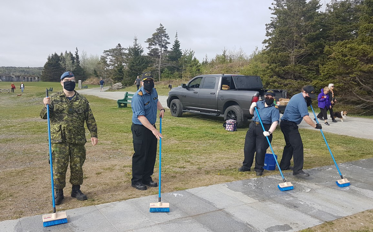 Sailors from HMCS Halifax spruced up the Bonaventure Anchor Memorial at Point Pleasant Park in Halifax on May 28, sweeping, scrubbing and painting the memorial.