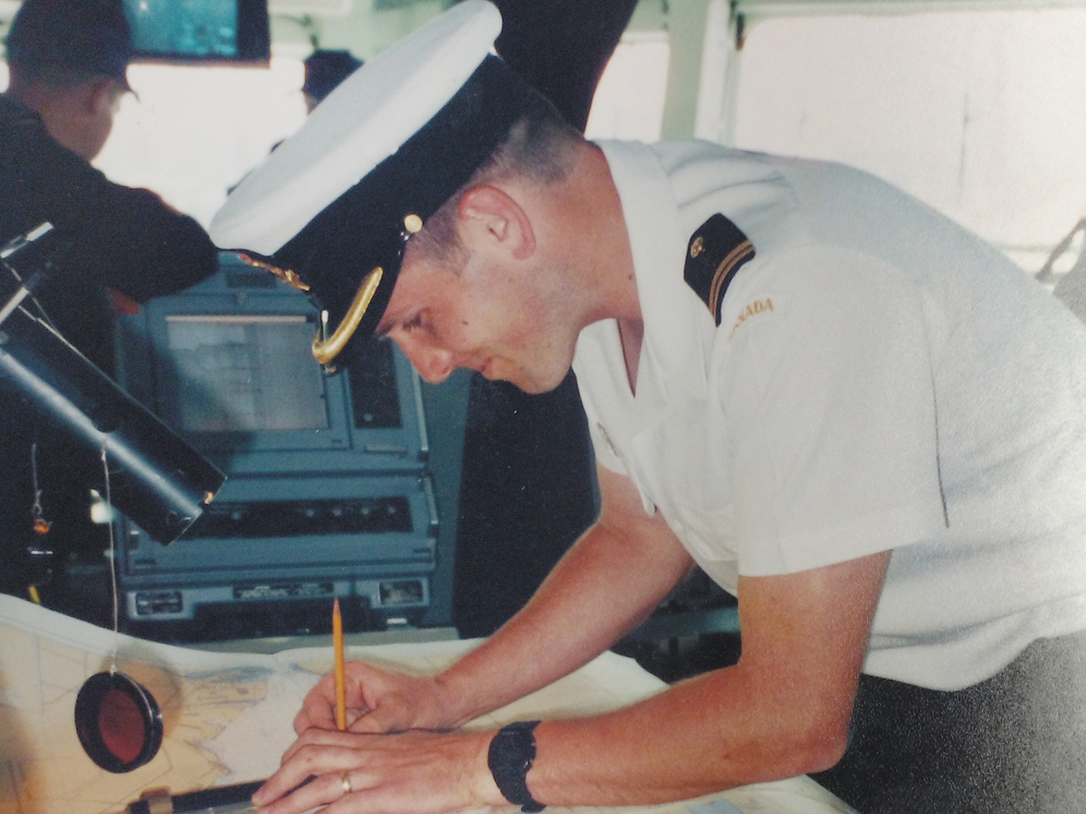 Commodore Topshee as FixO (Fixing Officer – assistant to the NavO) during a day sail to Vancouver in 1998.