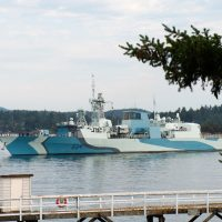 HMCS Regina sails out of Esquimalt Harbour. Photo by Master Corporal Andre Maillet, MARPAC Imaging Services