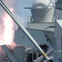 HMCS Winnipeg fires a missile at a practice target off the coast of the Hawaiian Islands during Exercise Rim of the Pacific (RIMPAC). Photo by Leading Seaman Valerie LeClair, Royal Canadian Navy