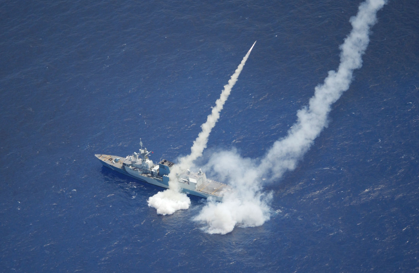 HMCS Regina fires two Harpoon Surface to Surface missiles in the Pacific Range Facility Barking Sands, off the coast of Hawaii while participating in Exercise Rim of the Pacific (RIMPAC) 2020. Photo by MS Dan Bard, Canadian Forces Combat Camera