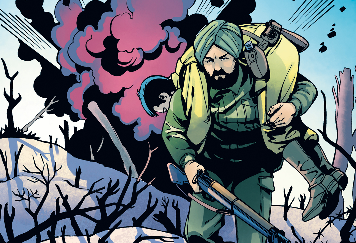 An artist's depiction of the film Promises portrays an Allied soldier from India in action in the Second World War Battle of Monte Carlo in 1944. The Indus Media Foundation film production will portray the contributions made by South Asian soldiers during the war.
