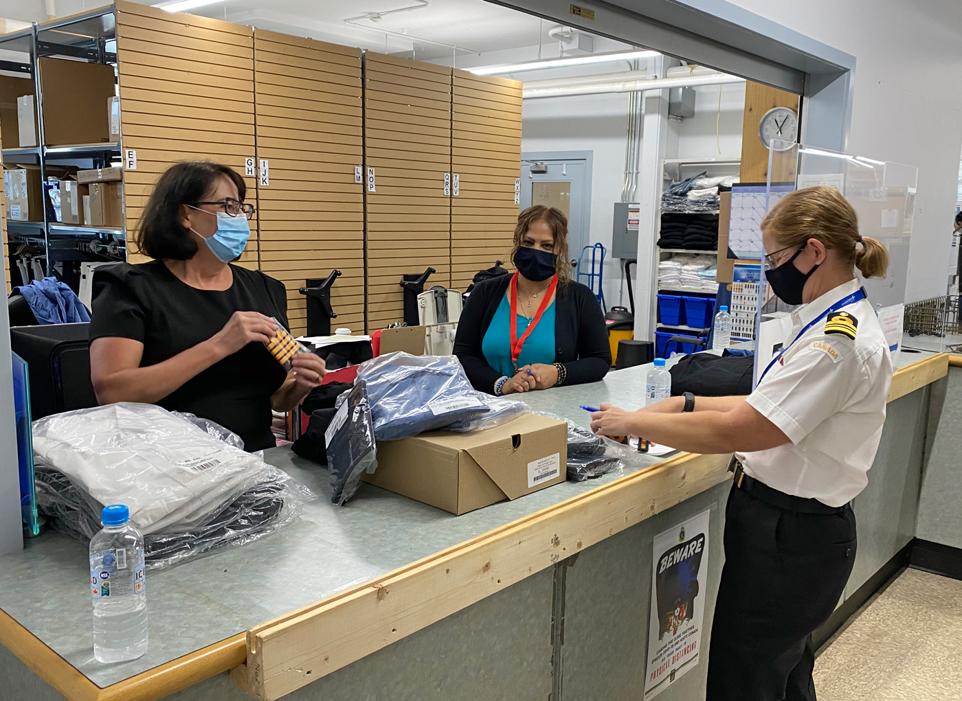 The Honourable Janet Austin visited Base Logistics last week to be fitted for her new Honorary Captain(N) uniform. Photo courtesy Lieutenant Governor's Office