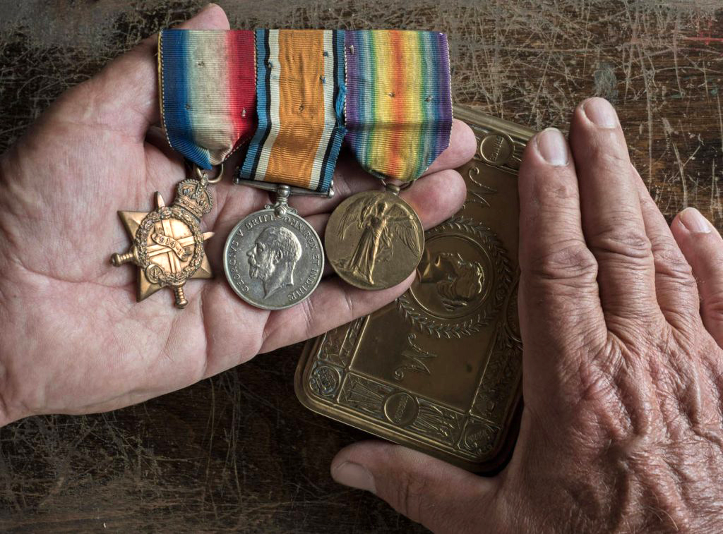 Three of Private Robert Speirs McClymont's medals are, from left: the 1914-15 Star, the British War Medal, and the Victory Medal 1914-1919. Together they are affectionately called Pip, Squeak and Wilfred.