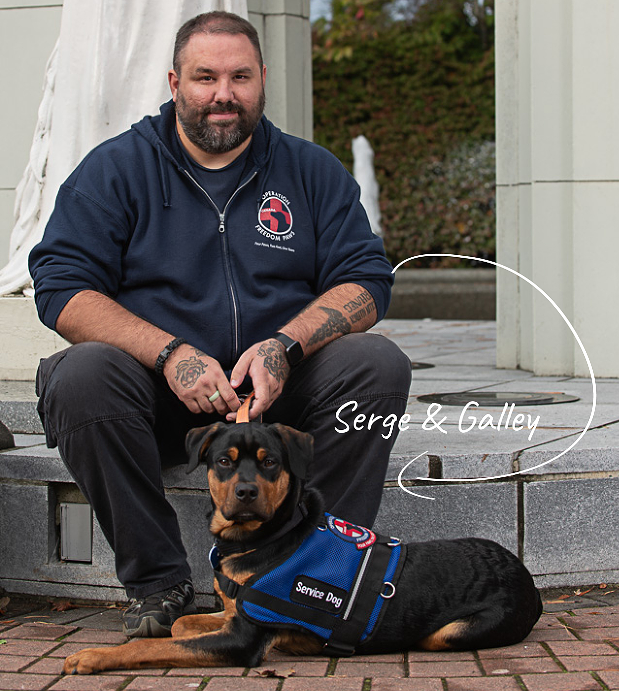 Sailor First Class Serge Lacasse with his dog Galley.