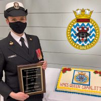 Vice-Admiral Mark Norman Leadership Award presented to HMCS Queen Charlotte sailor