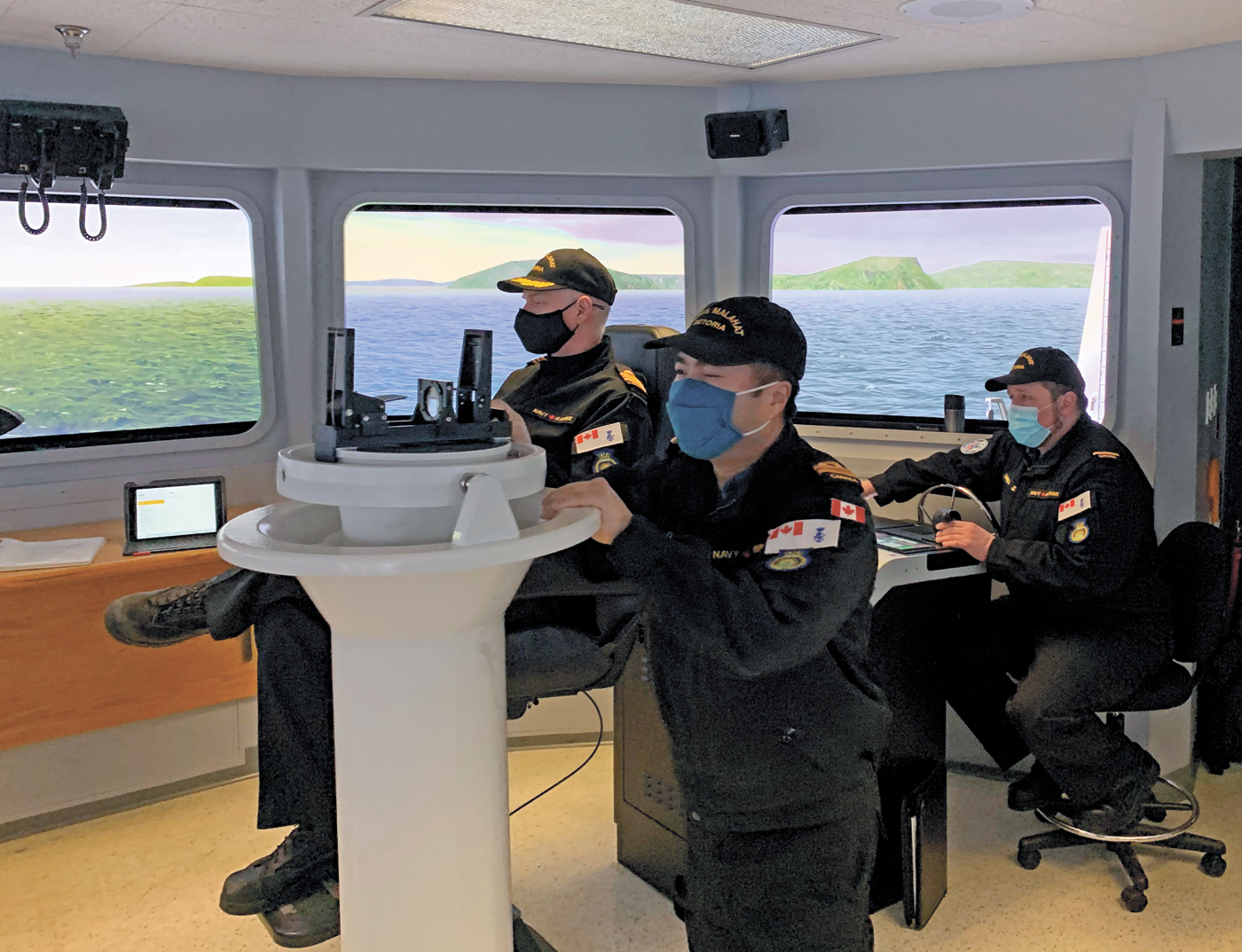 Steady as she goes through the Gulf Islands - members of HMCS Malahat take part in NABS simulation training at CFB Esquimalt on Feb. 6-7.
