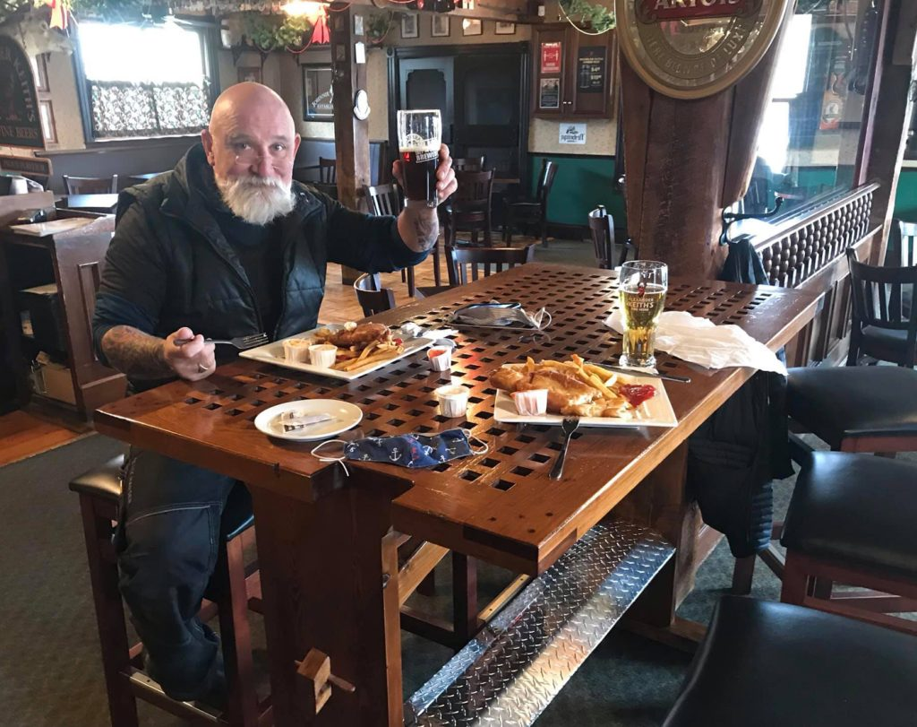 CPO1 (Retired) Jeff Morrison has a meal at the HMCS Nipigon table in the Mug and Anchor Pub, located in Mahone Bay, Nova Scotia. Photos submitted
