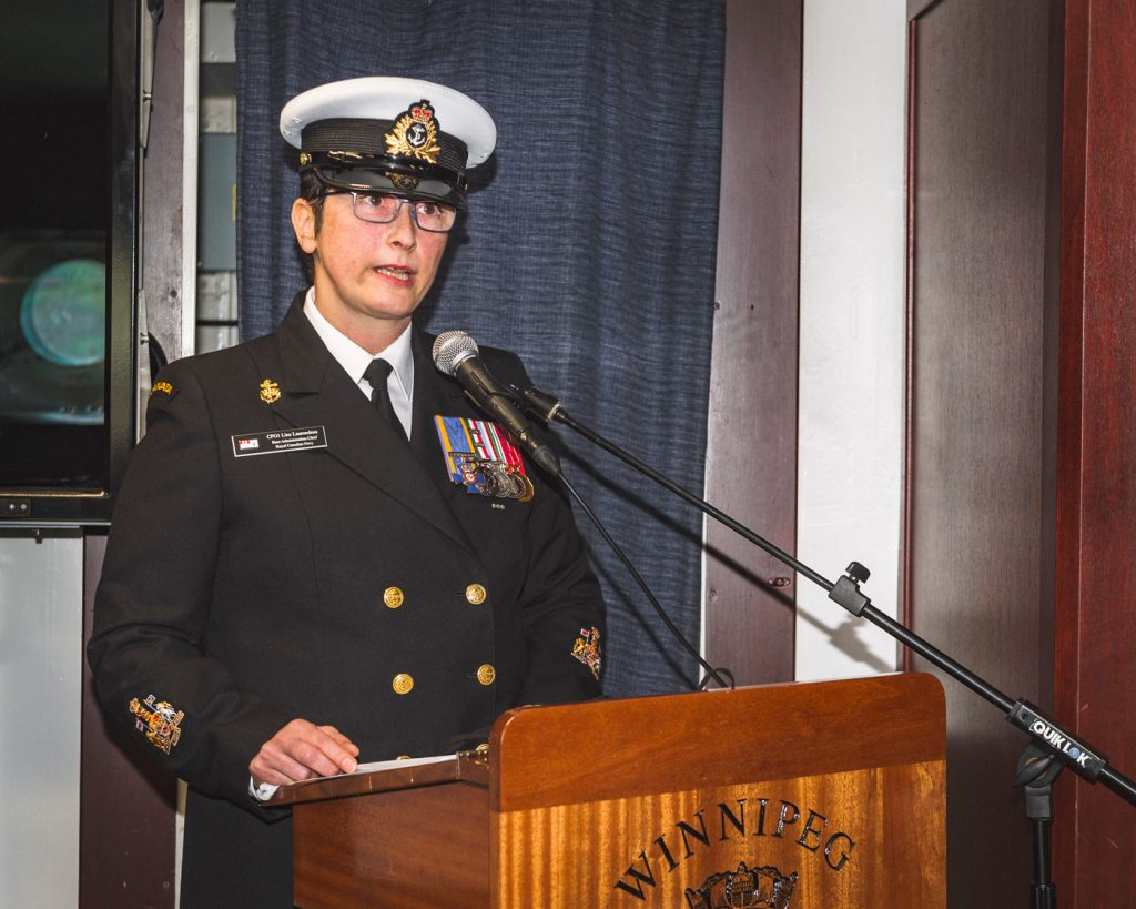 Chief Petty Officer First Class Line Laurendeau, incoming Coxswain of HMCS Winnipeg, addresses those in attendance at the Change of Appointment ceremony. Photo by S1 Kendric Grasby, Imaging Services