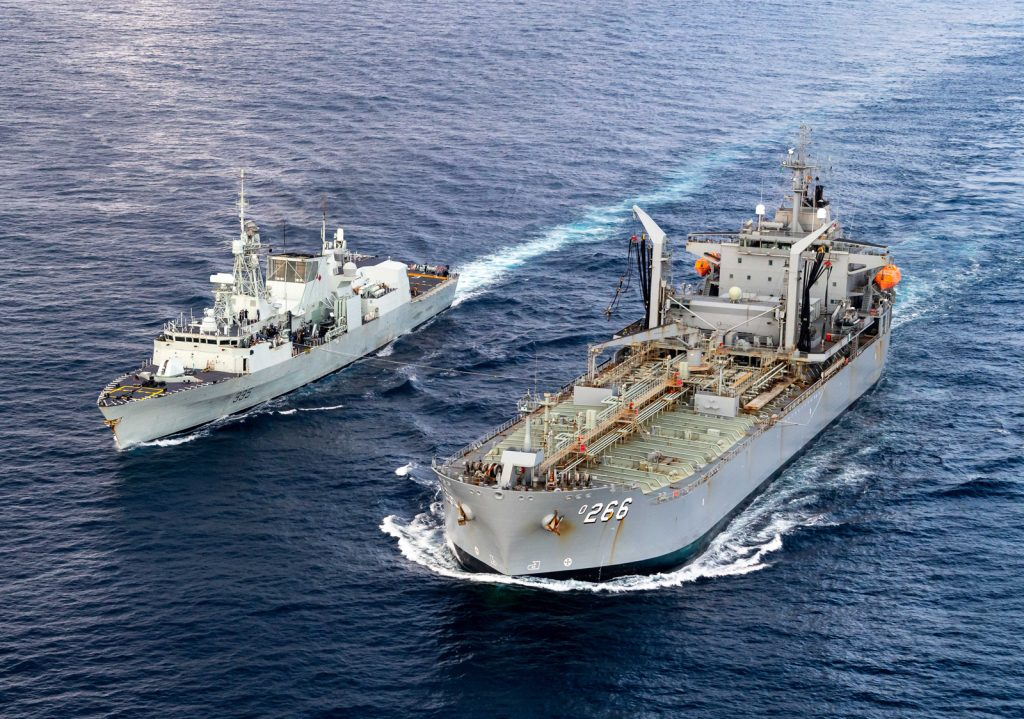 HMCS Calgary conducts a Replenishment at Sea, receiving fuel from HMAS Sirius in the Indian Ocean April 8. Corporal Lynette Ai Dang, HMCS Calgary Imagery Technician