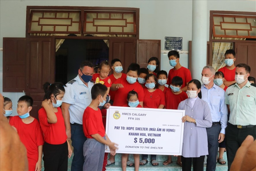 A delegation from the Embassy of Canada to Vietnam donated $5,000 on behalf of HMCS Calgary and Boomer's Legacy Fund when the ship made a port visit to Cam Ranh Bay. Photo supplied by Embassy of Canada to Vietnam