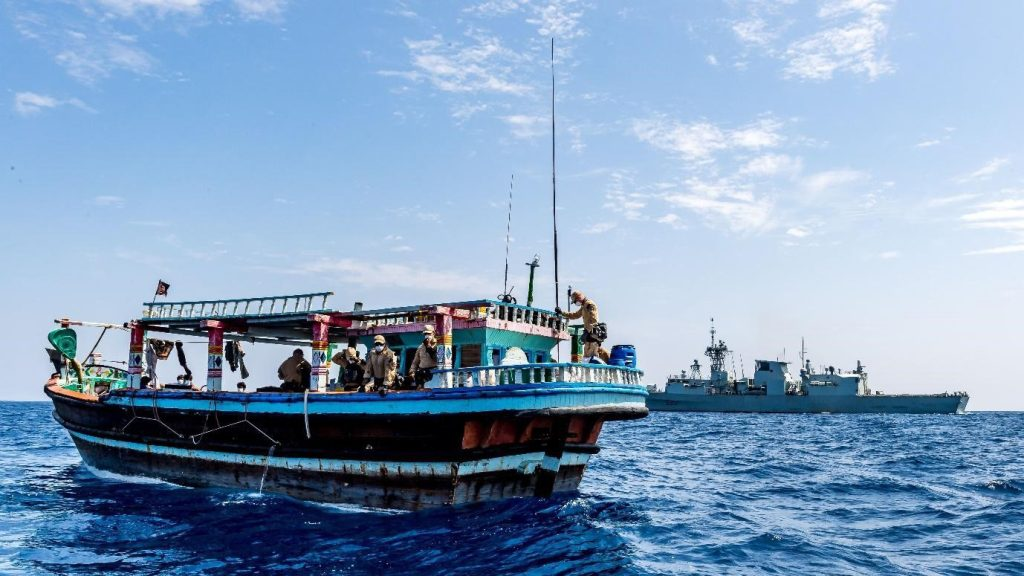 Members of the Naval Tactical Operations Group  boarding team search a suspicious dhow and find 360 kilograms of methamphetamine.