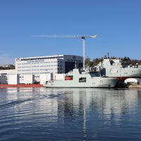 Margaret Brooke (hull 431) is seen alongside HMCS Max Bernays (hull 432) at Irving Shipbuilding's Halifax facility. Photo courtesy Irving Shipbuilding.