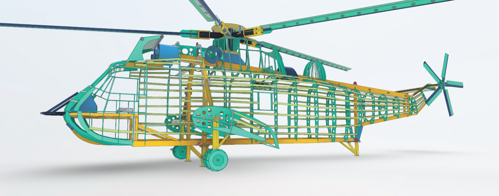 Concept drawing of the full scale replica airframe of the Sea King helicopter created by Apex Structural Design, of Red Deer, Alberta.